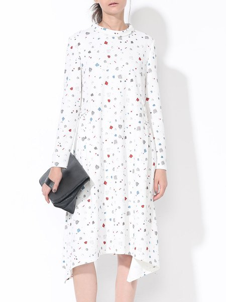 White Printed Long Sleeve Shift Midi Dress