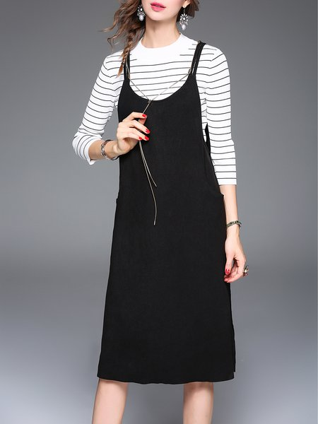 Two Piece Crew Neck Stripes Tops With Spaghetti Midi Dress