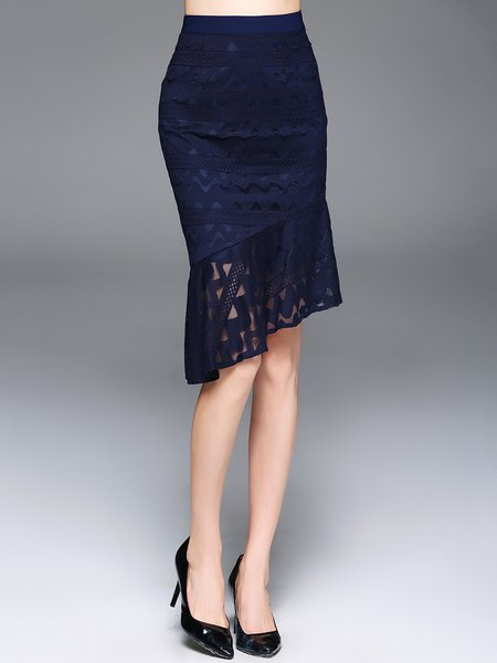 Navy Blue Guipure Lace 3/4 Sleeve Midi Skirt