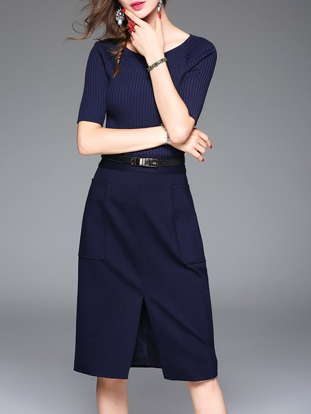 Navy Blue Two Piece Knitted Tops With Slit Pockets Midi Dress With Belt