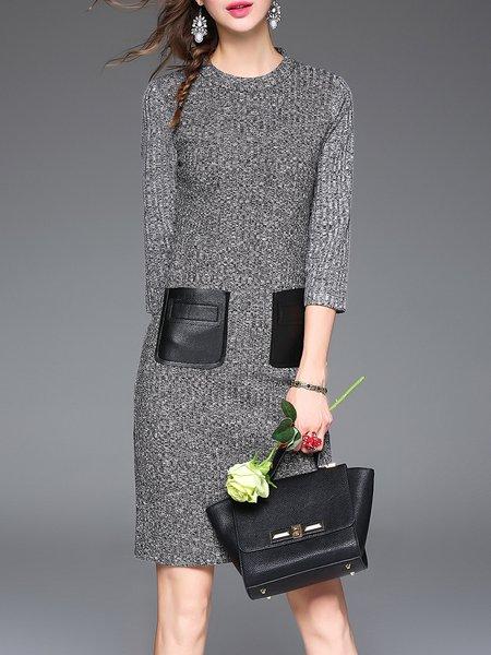 Gray 3/4 Sleeve Color Block Pockets Sheath Wool Midi Dress