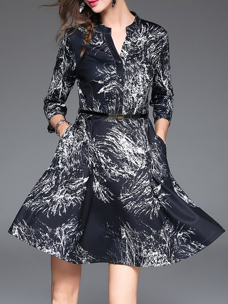 Black Printed A-line Casual Midi Dress With Belt