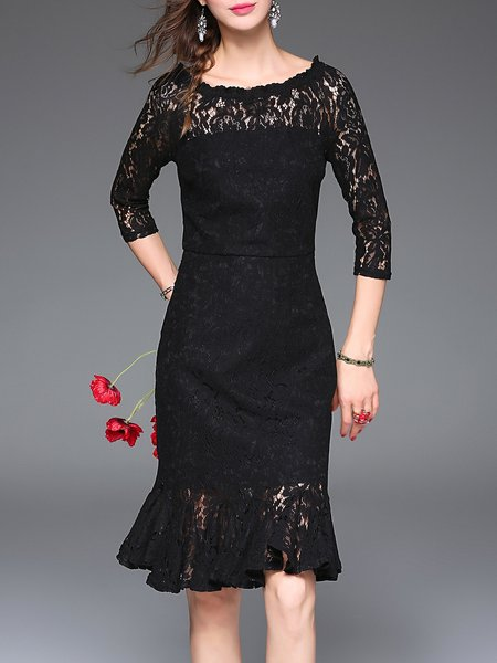 Black Guipure Lace Elegant Mermaid Plain Midi Dress