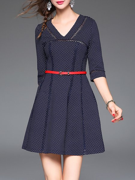 Navy Blue V Neck Casual Cotton-blend Mini Dress