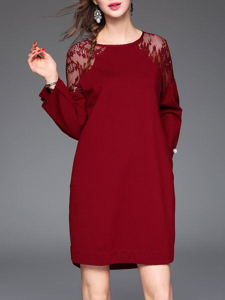 Wine Red Crew Neck Guipure Lace Long Sleeve Mini Dress