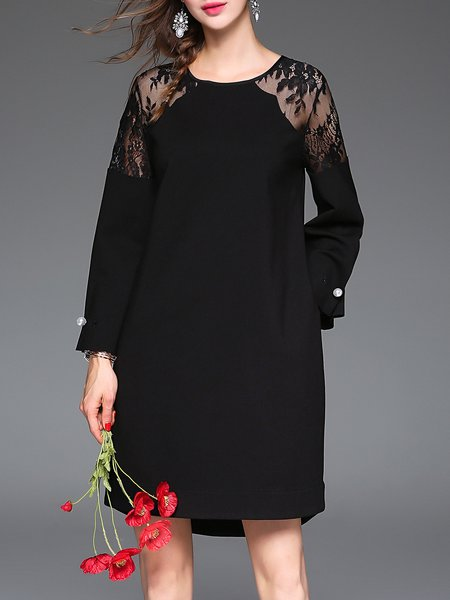 Black Plain Elegant Crew Neck Guipure Lace Mini Dress