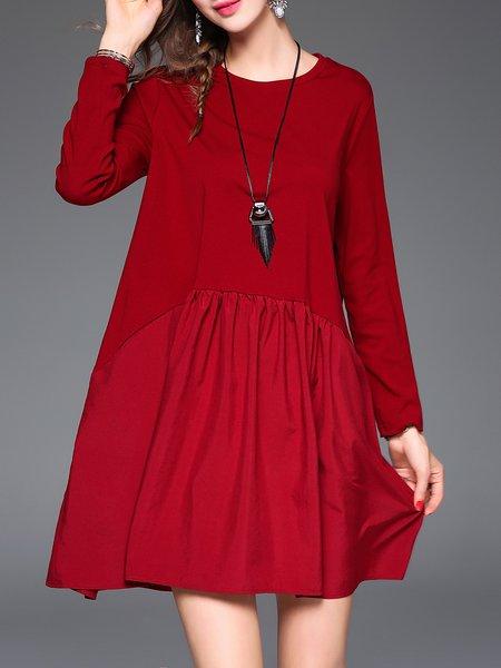Long Sleeve Folds Casual Mini Dress