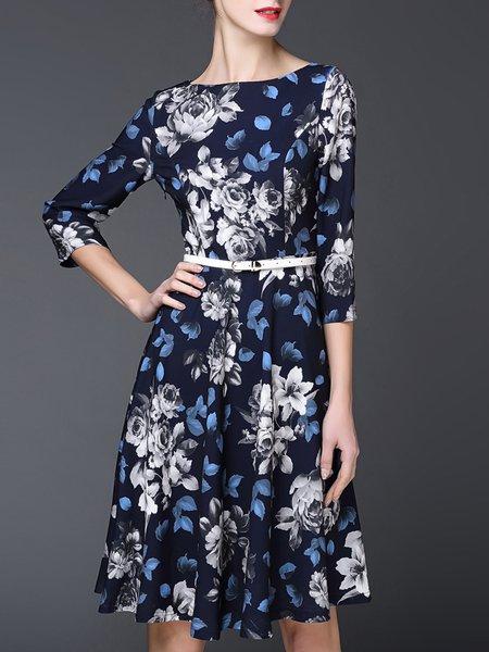 Vintage 3/4 Sleeve Floral-print Midi Dress