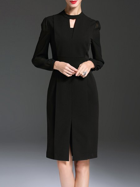 Black Plain Elegant Slit Keyhole Midi Dress