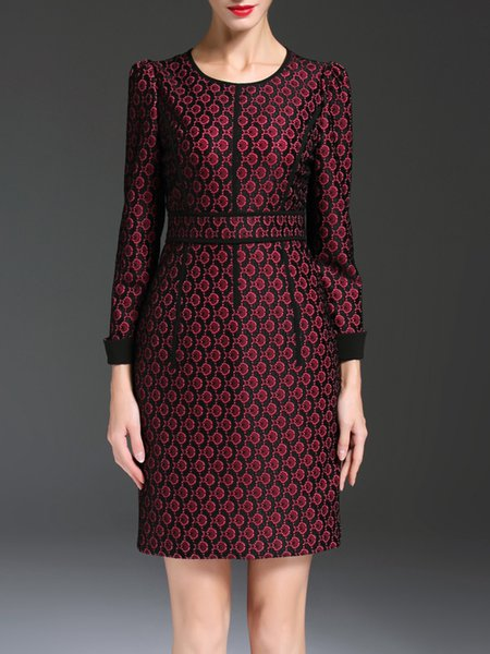 Wine Red Jacquard Long Sleeve Midi Dress