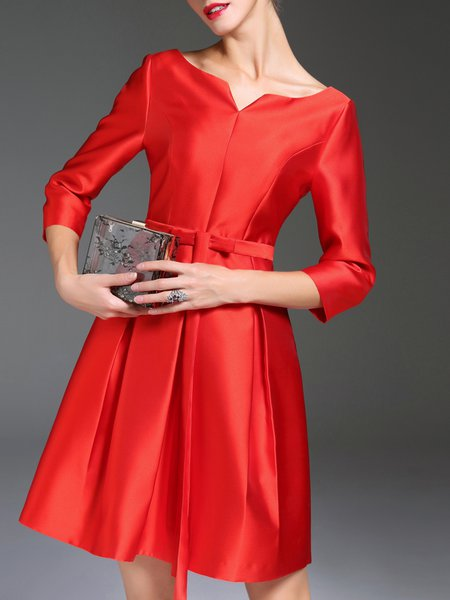Red Plain A-line V Neck 3/4 Sleeve Midi Dress