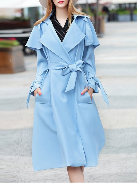 Lapel Long Sleeve Simple Plain Trench Coat