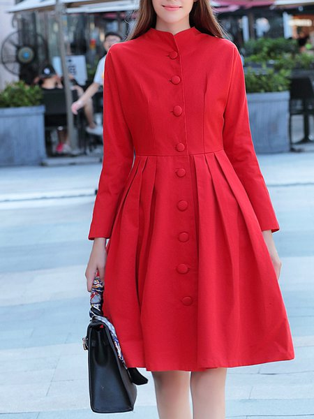 A-line Simple Folds Long Sleeve Buttoned Plain Coat