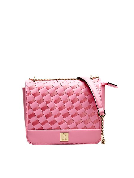 Pink Casual Mini Woven Nylon Crossbody