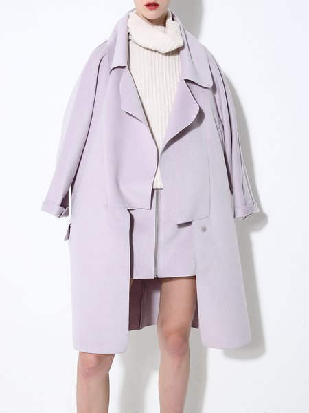Purple Elegant Shift Pockets Coat