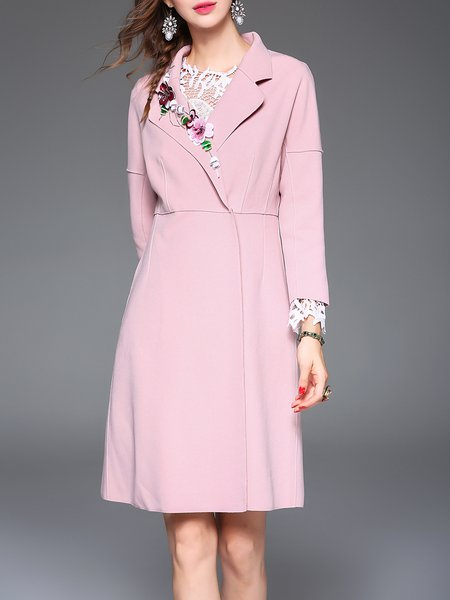 Pink Elegant Sequins Embroidery Long Sleeve Coat