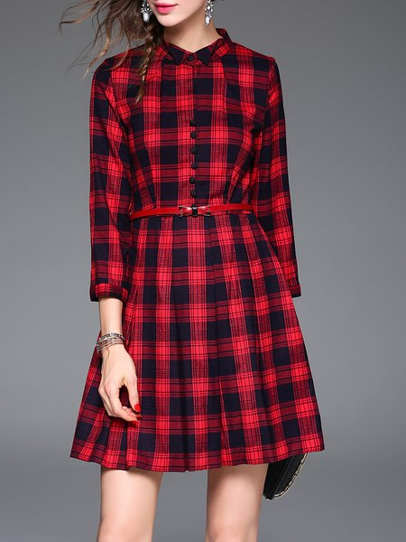 Red Checkered/Plaid Shirt Collar A-line 3/4 Sleeve Mini Dress