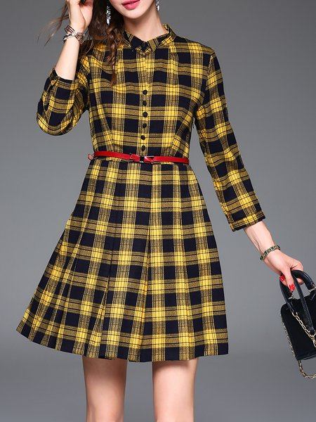 Elegant Checkered/Plaid Buttoned 3/4 Sleeve Mini Dress