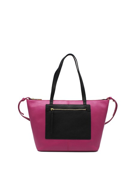 Color-block Cowhide Leather Casual Medium Zipper Tote