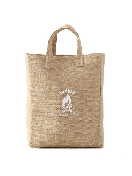 Medium Open-top Casual Printed Cotton Burlap Tote