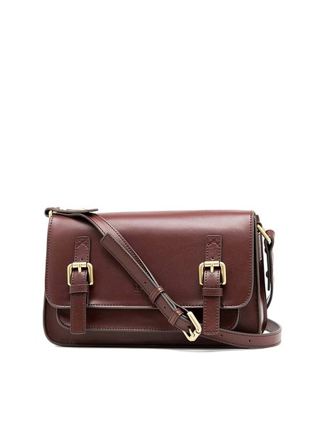 Brown Retro Zipper Split Leather Satchel