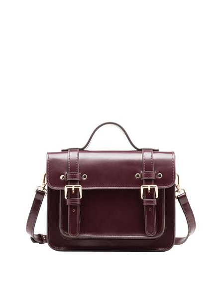 Snap Small Casual Split Leather Satchel