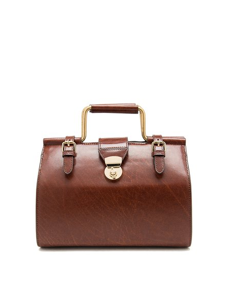 Retro Cowhide Leather Small Zipper Satchel
