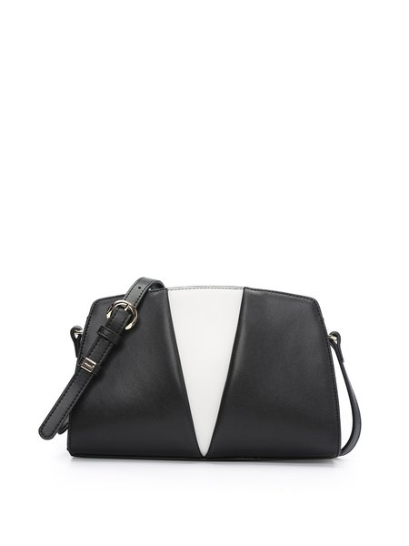 Zipper Color-block Cowhide Leather Casual Crossbody Bag