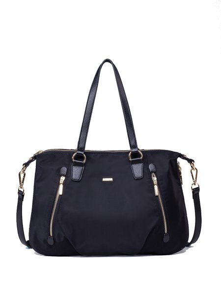 Black Nylon Casual Medium Tote