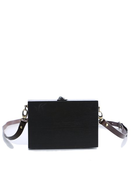 Black Mini Simple Square Plain Wooden Crossbody