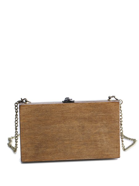 Small Twist Lock Simple Plain Square Wooden Crossbody
