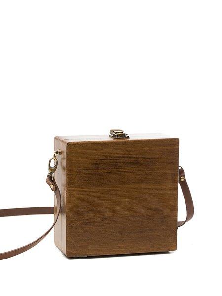 Brown Mini Plain Wooden Square Simple Crossbody