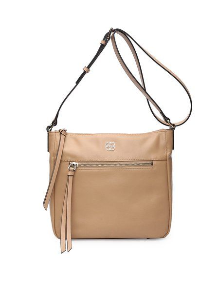 Small Plain Cowhide Leather Zipper Crossbody
