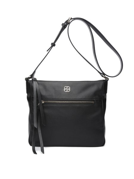 Solid Cowhide Leather Zipper Casual Crossbody Bag