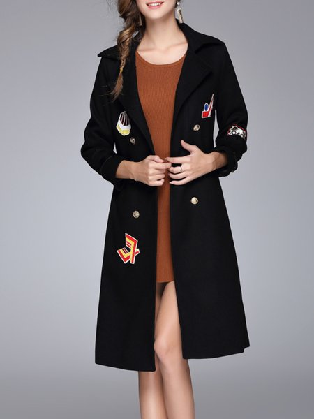 Black Animal Casual Embroidered Lapel Trench Coat