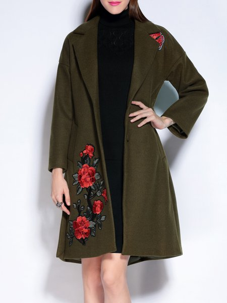 Lapel A-line Long Sleeve Floral-embroidered Slit Coat