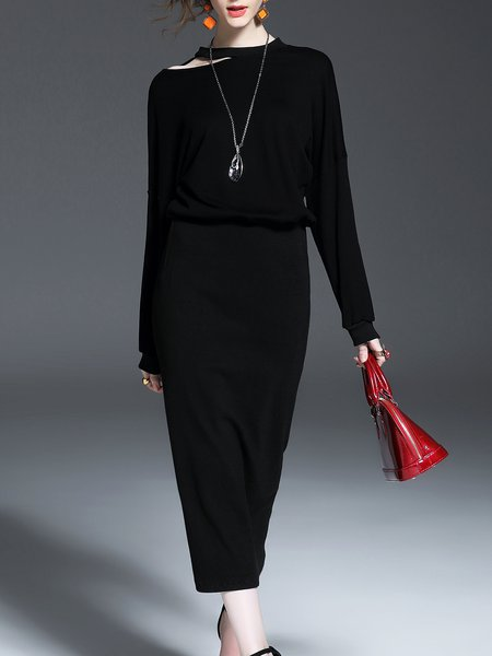 Black Long Sleeve Sheath Knitted Slit Midi Dress