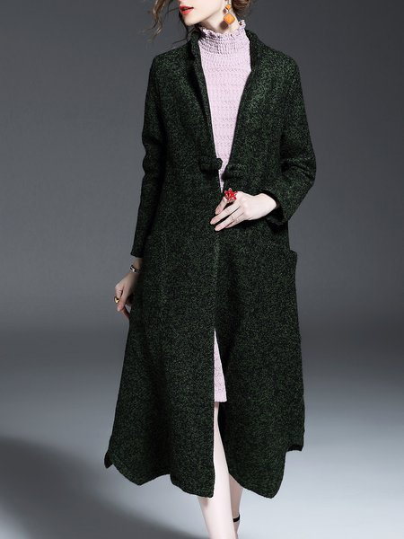 Green Asymmetrical Lapel Solid Long Sleeve Coat