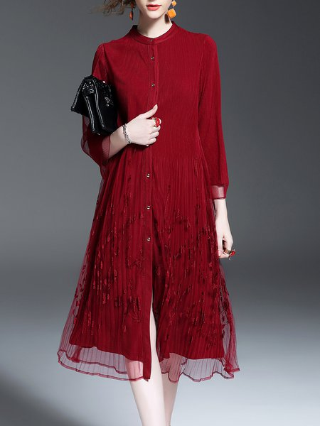Wine Red Girly Pleated Floral Embroidered Midi Dress