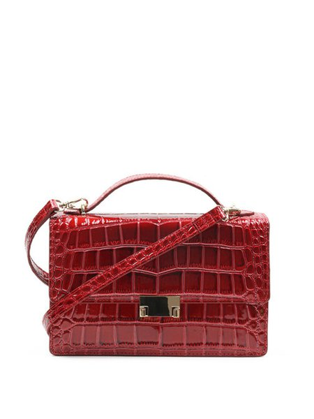 Wine Red Embossed Cowhide Leather Push Lock Casual Crossbody Bag