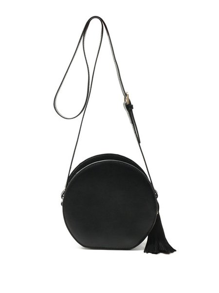 Black Zipper Simple Solid Cowhide Leather Round Crossbody Bag