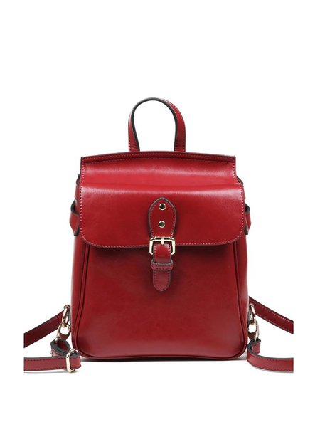 Burgundy Retro Magnetic Solid Cowhide Leather Backpack