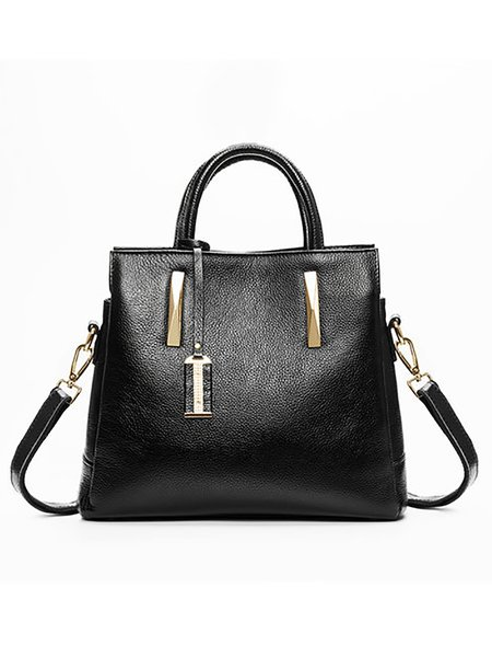 Black Cowhide Leather Medium Top Handle