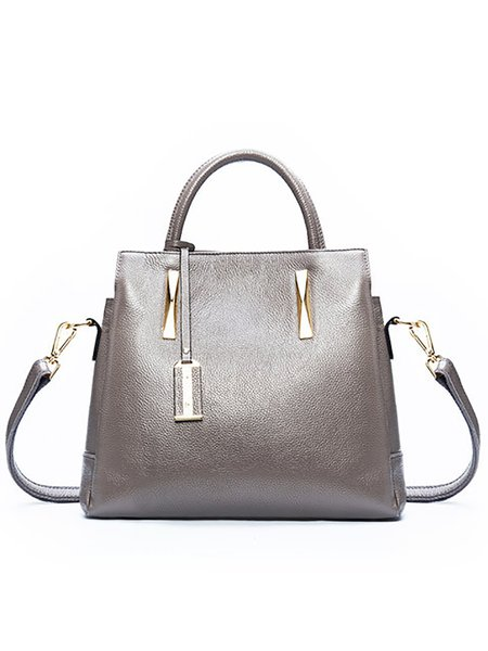 Gray Casual Cowhide Leather Medium Top Handle