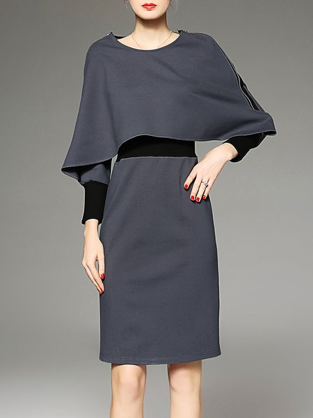 Gray Cotton-blend Sheath Cape Batwing Color Block Slit Midi Dress