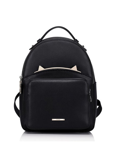 Black Zipper Cowhide Leather Casual Backpack