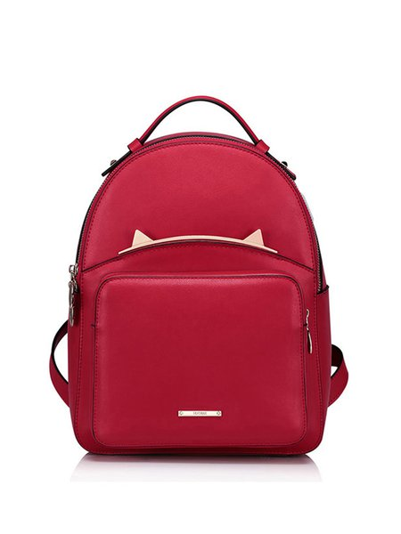 Wine Red Sweet Cowhide Leather Zipper Backpack