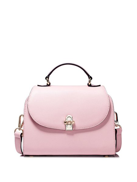 Pink Sweet Twist Lock Cowhide Leather Crossbody Bag