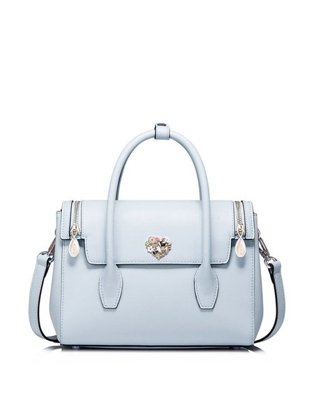 Light Blue Casual Small Cowhide Leather Satchel