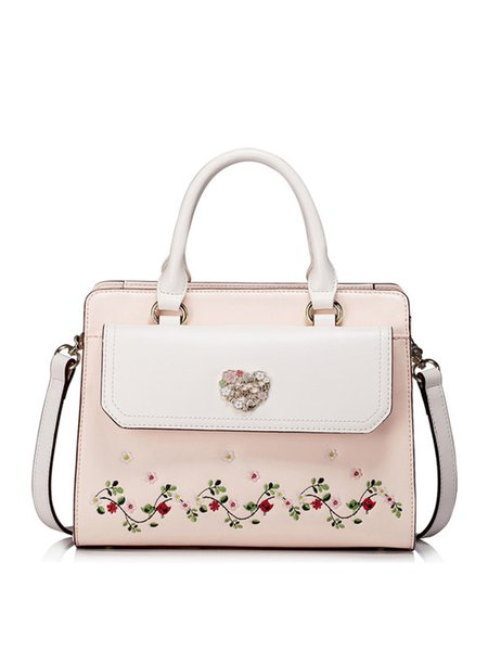 Pink Sweet Floral Embroideried Zipper Top Handle